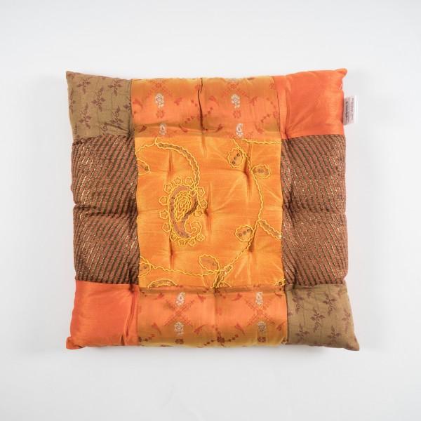 Sitzkissen, orange/braun, L 40 cm, B 40 cm, H 5 cm