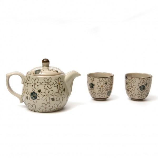 "Teeservice ""Passion"", 2 Tassen & Teekanne, beige/braun"