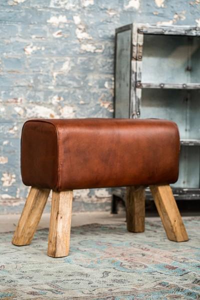 Sitzbock 'James', cognac, natur, T 35 cm, B 61 cm, H 52 cm