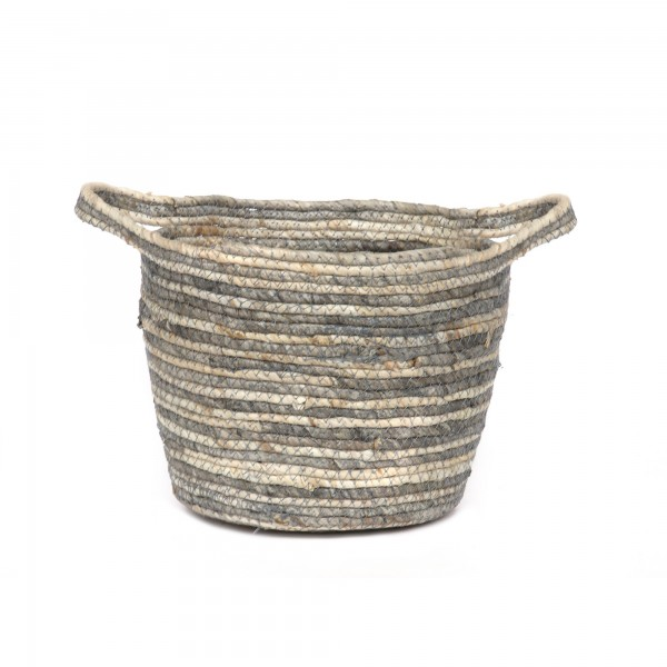 Korb 'Chio' S, natur, grau, Ø 25 cm, H 18 cm