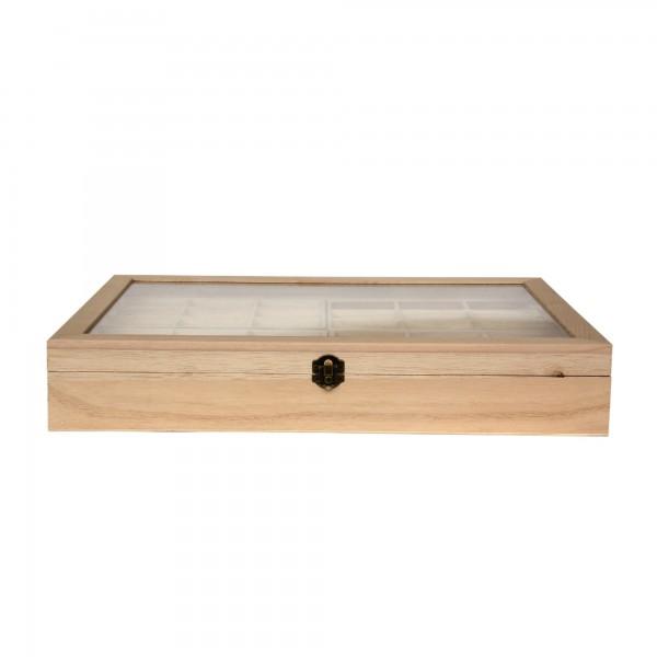 Sortierkasten 'Luina' mit Glasdeckel, hellbraun, T 30 cm, B 44,5 cm, H 7,5 cm