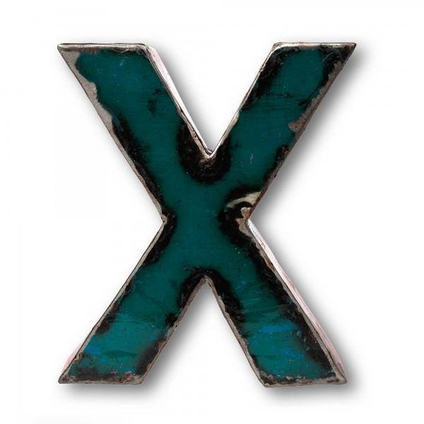 Metallbuchstabe 'X', multicolor, T 17 cm, B 20 cm, H 4 cm