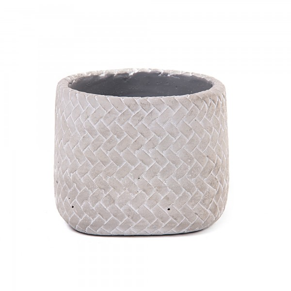 Übertopf 'Tissage' S, grau, white-wash, Ø 13 cm, H 10,5 cm