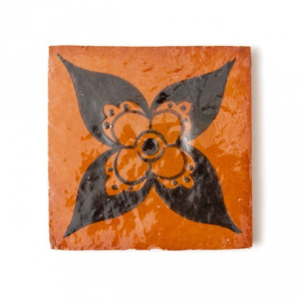 """Fliese """"ciel et enfer"""", terracotta/schwarz, L 10 cm, B 10 cm, H 1 cm"""
