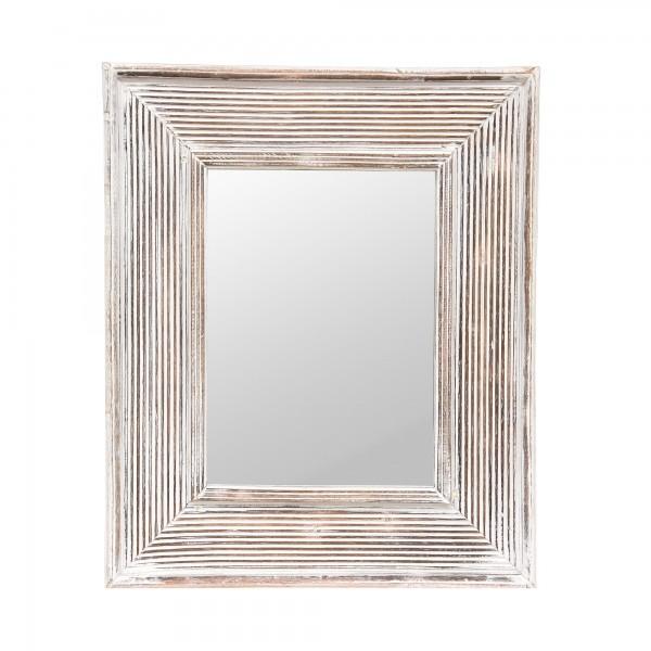 Spiegel 'Rillen', weiß gekälkt, T 3 cm, B 50 cm, H 60 cm