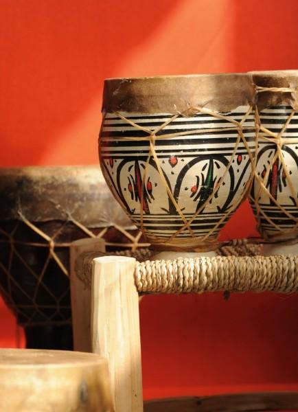 Ton-Trommel 'Asilah', marokkanische 2er-Trommel, echtes Rindsleder, B 24 cm, H 19 cm