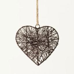 Baumanhänger 'Herz' aus Draht, antik-braun