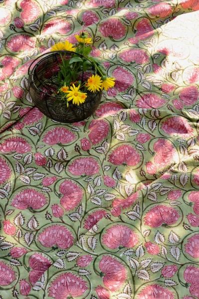 Tischdecke, oliv, floral, T 150 cm, B 220 cm