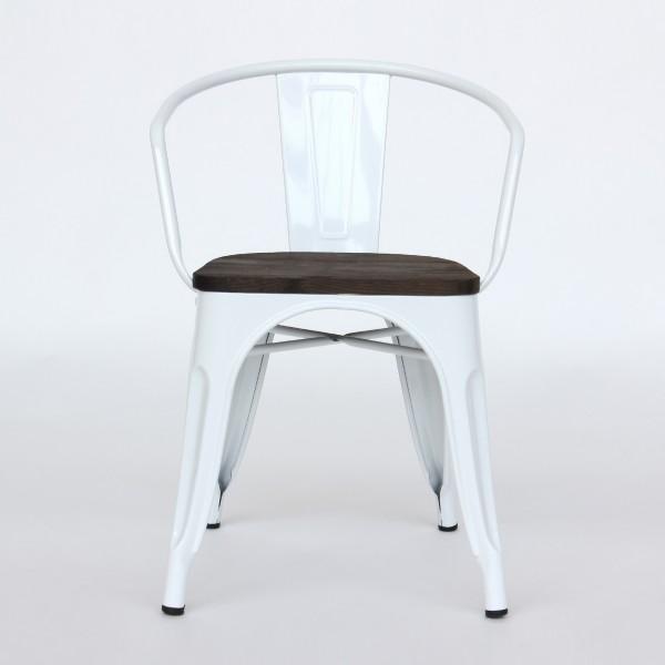 Stuhl 'Gloria', weiß, braun, T 51cm, B 52cm, H 71cm