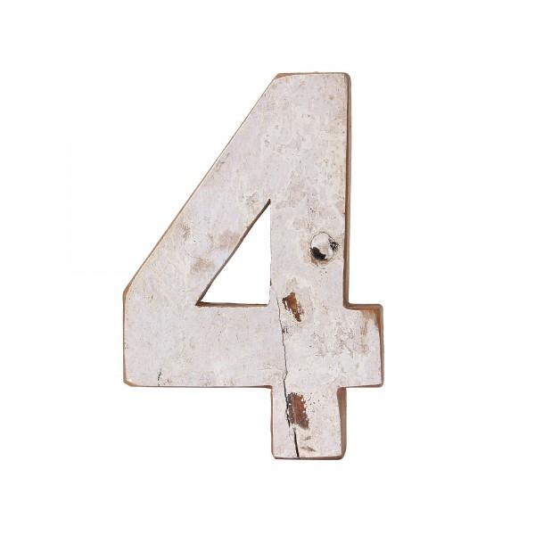 Holzziffer '4', multicolor, T 19 cm, B 13 cm, H 2 cm