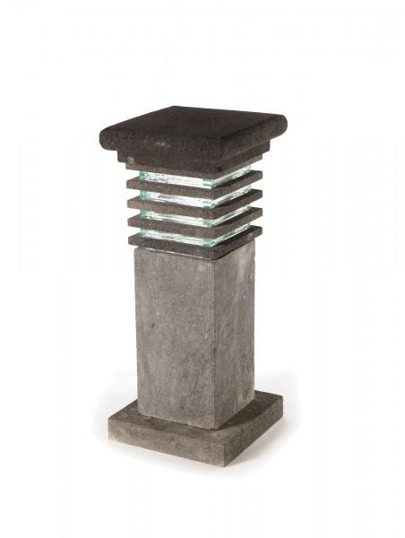 Lavasteinleuchte 'Ochiba', grau, T 30 cm, B 30 cm, H 71 cm