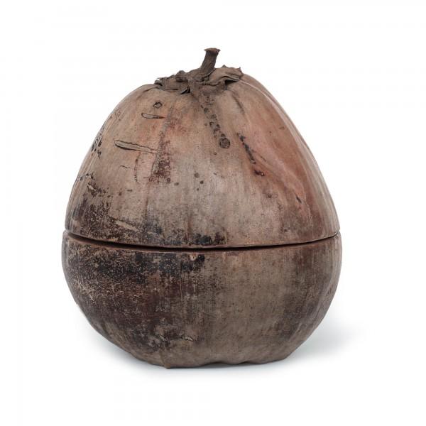 Kokosnuss-Box mit Deckel, natur, Ø 20 cm, H 25 cm