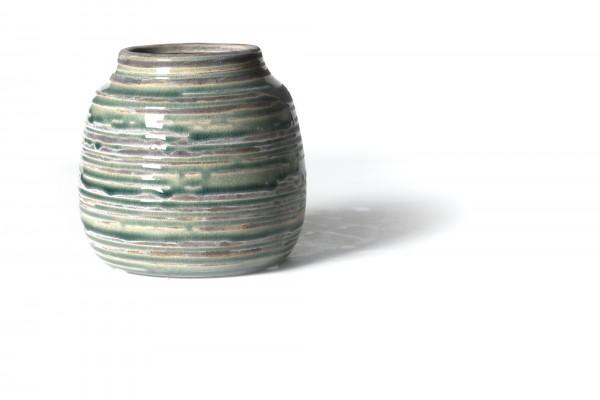 Vase geringelt, aus Steingut, grün/grau, Ø 14 cm, H 13 cm