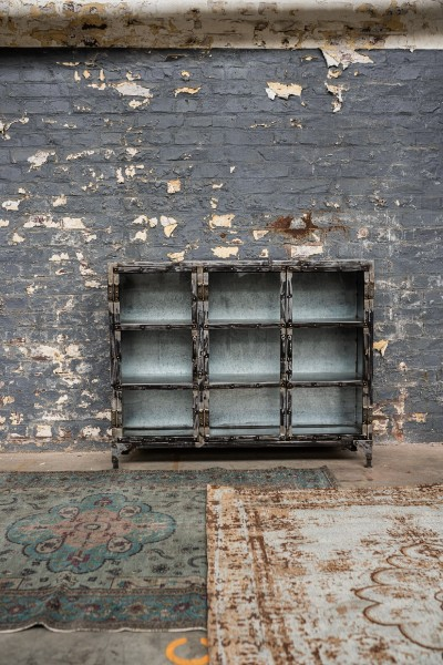 Sideboard 'Verre' mit Glastüren, natur, T 30 cm, B 121 cm, H 97 cm