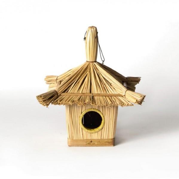 Vogelhaus aus Stroh, L 17 cm, B 17 cm, H 21 cm
