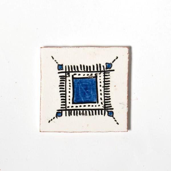 "Fliese ""Careé"", weiß/blau, L 10 cm, B 10 cm, H 1 cm"