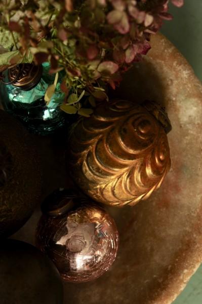 Anhänger Kugel, gold, Ø 7 cm, H 7 cm