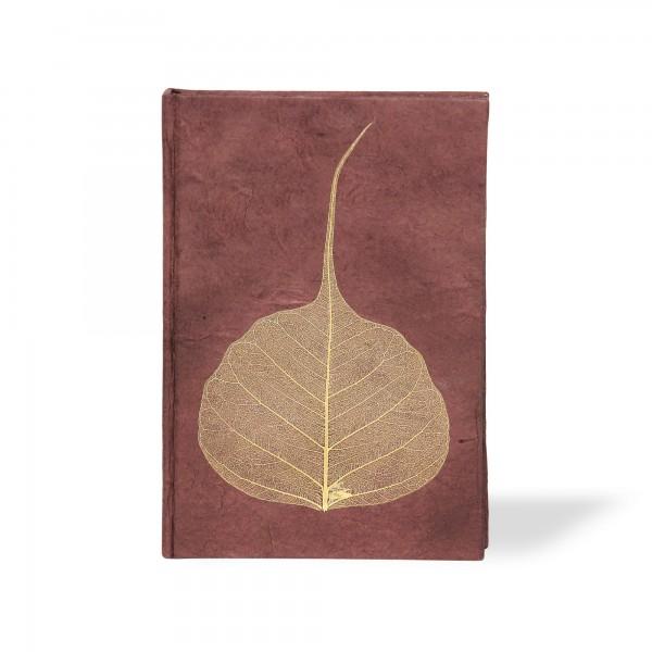 Notizbuch 'Blatt', dunkelbraun, T 11,5 cm, B 8 cm, H 1,5 cm