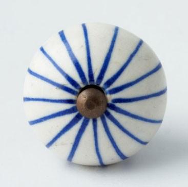 Türknauf rund, blau/weiß, Ø 4 cm
