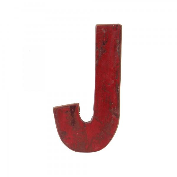 Holzbuchstabe 'J', mehrfarbig, T 2,5 cm, B 13 cm, H 19 cm