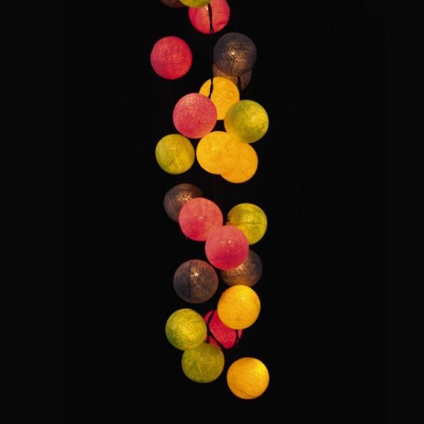 Kugellichterkette mit 35 Kugeln, grau/pink/gelb