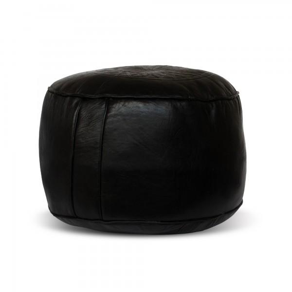 Lederpouf 'Stern' flach, schwarz, Ø 40 cm, H 24 cm