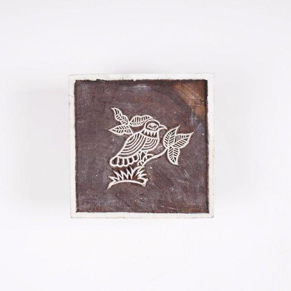 """Holzstempel """"Vogel"""", handgeschnitzt, B 9,5 cm, H 9,5 cm"""