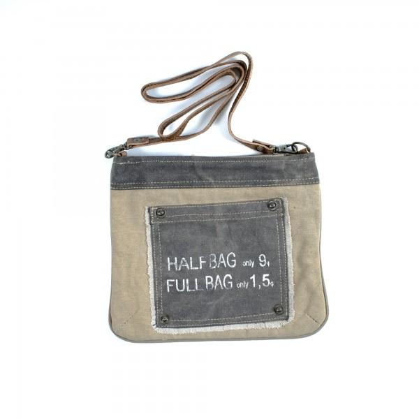 Umhängetasche 'Half and Full', beige, B 23 cm, H 27 cm