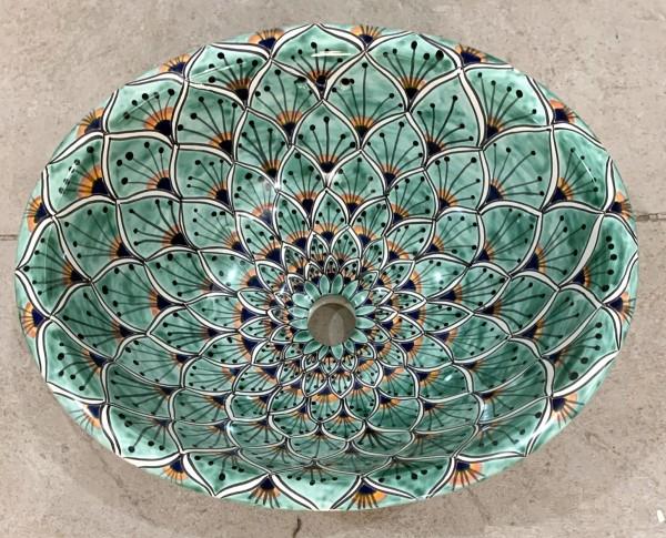 Keramikwaschbecken 'Pfau', hellgrün, T 53 cm, B 43 cm, H 19 cm