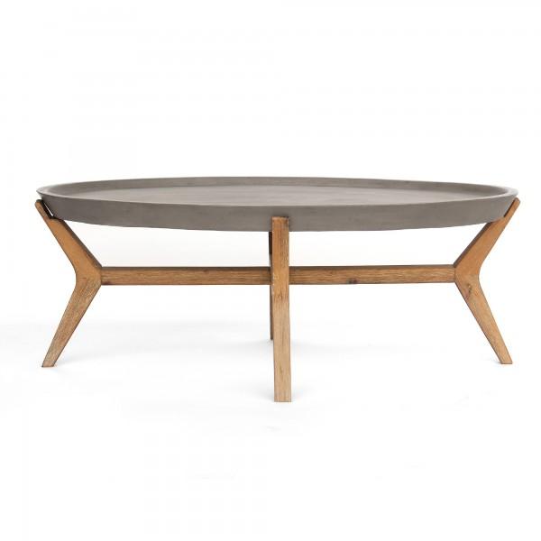 Tisch 'Kerben' rund, grau, braun, Ø 80 cm, H 41 cm