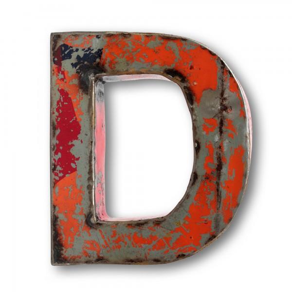 Metallbuchstabe 'D', multicolor, T 16 cm, B 20 cm, H 4 cm