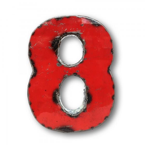 Metallziffer '8', multicolor, T 14 cm, B 19 cm, H 4 cm