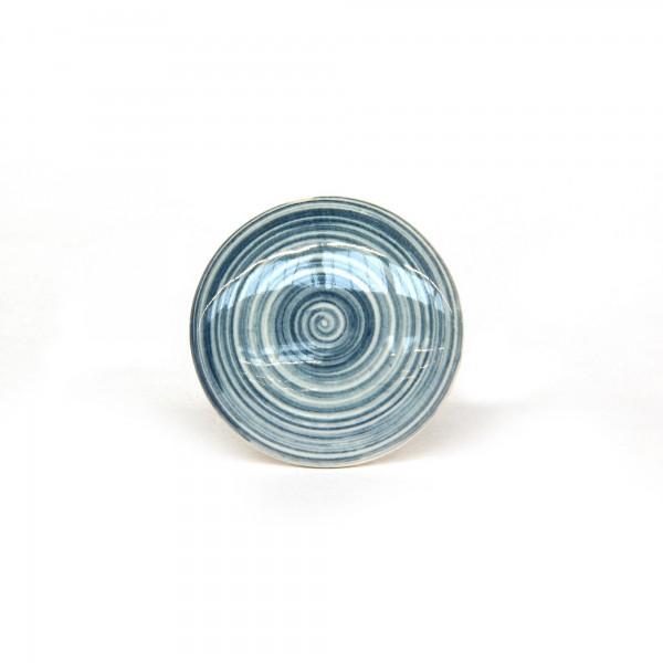 Knopf 'Strudel', blau, beige, T 4 cm, B 4 cm, H 2,5 cm
