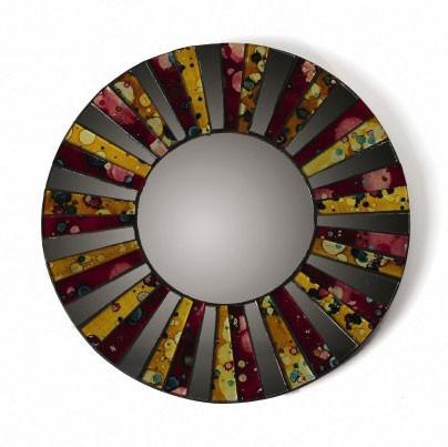 """Mosaik-Spiegel """"Streifen"""", gelb/purpur, Ø 20 cm"""