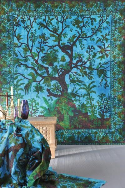Mutlifunktionstuch 'Baum', aus 100% Baumwolle, blau/grün, L 220 cm, B 250 cm