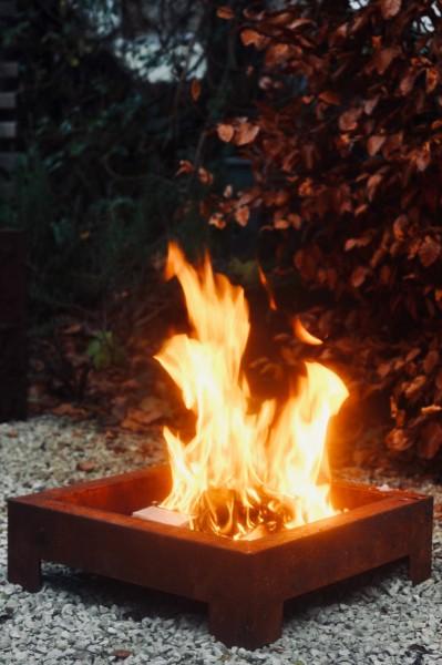 Feuerstelle 'Luz' S, rostbraun, T 53 cm, B 53 cm, H 15 cm