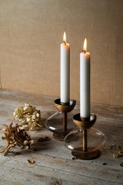 Kerzenständer 'Ussuri', blau, messing, Ø 11 cm, H 10 cm