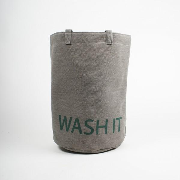"Wäschekorb ""Wash it"", grau/grün, Ø 52 cm, H 52 cm"