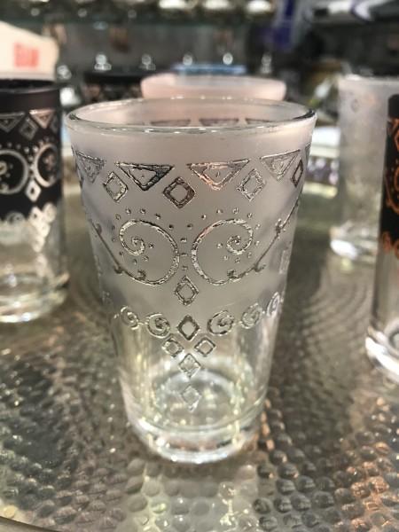 Teeglas, silber, transparent, Ø 5 cm, H 9 cm