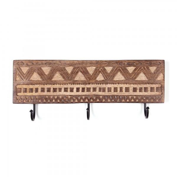 3er Wandhaken 'Maoree', braun, T 2cm, B 38cm, H 11cm