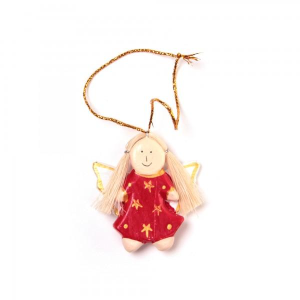 Baumanhänger 'Engel', rot, B 4 cm, H 5 cm