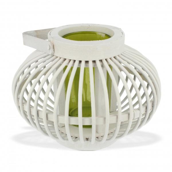 "Bambuslaterne ""Shanghai"", weiß, inkl. Glas (grün), H 13,5 cm, Ø 18 cm"
