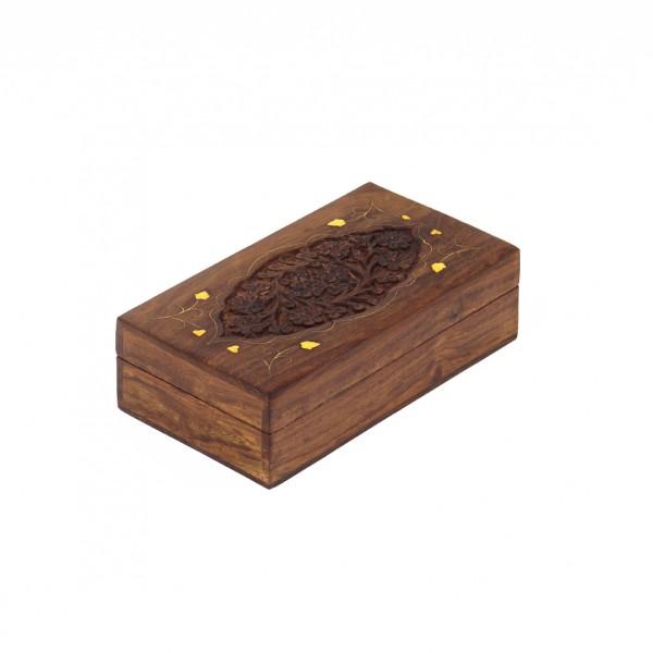 Holzschatulle mit Messingintarsien, braun, L 9 cm, B 17 cm, H 5 cm