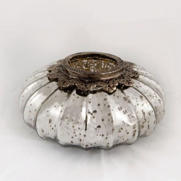 Windlicht 'Pumpkin' M, silber, Ø 25 cm, H 14 cm