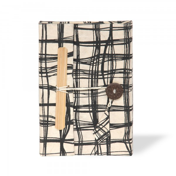 Notizbuch schwarzes Muster, schwarz, weiß, T 11 cm, B 8 cm, H 1,5 cm