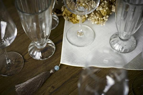 Tischläufer, hellgrau, weiß, T 200 cm, B 33 cm