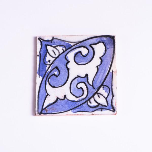 """Fliese """"feuillage"""", blau/weiß, L 10 cm, B 10 cm, H 1cm"""