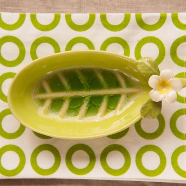 "Seifenschale ""Blume"", grün, L 18 cm, B 9 cm, H 5 cm"