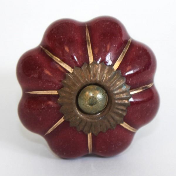 """Türknauf """"Blume"""", weinrot, Ø 4,5 cm"""