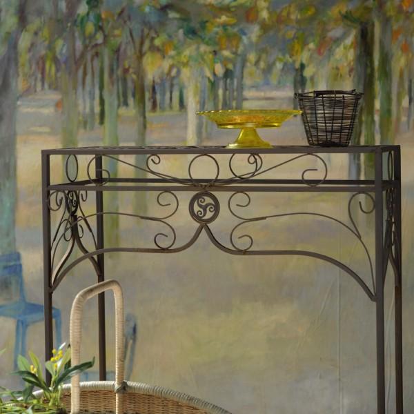 """Tisch """"Juliette"""" aus Schmiedeeisen, antik-braun, L 28 cm, B 68 cm, H 73 cm"""